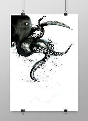 konsttryck, tavla, tavlor, poster, posters, print, prints, svart och vitt, svartvit, svartvita, annelies design, webbutik, webbutiker, webshop, nettbutikk, nettbutikker, plakat, plakater, affisch, affischer, bläckfiskar, fisk, fiskar, bläckfisk, hav, havet, havsmotiv,