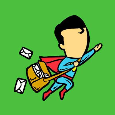 Super man es un buen cartero.