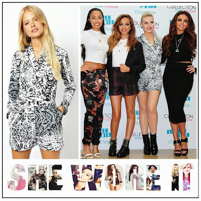 Perrie Edwards, ASOS, Vandal, White, Grey, Black, All Over Print,  Paint Splash Print, Long Sleeve, Wrap Front, Playsuit