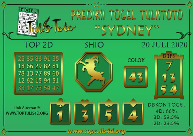 Prediksi Togel SYDNEY TULISTOTO 20 JULI 2020