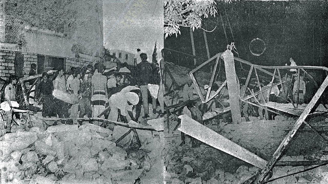 foto del derrumbe templo de la moderna san luis gonzaga