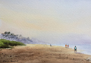 Water colour painting of a beachscene by Indian artist Manju Panchal