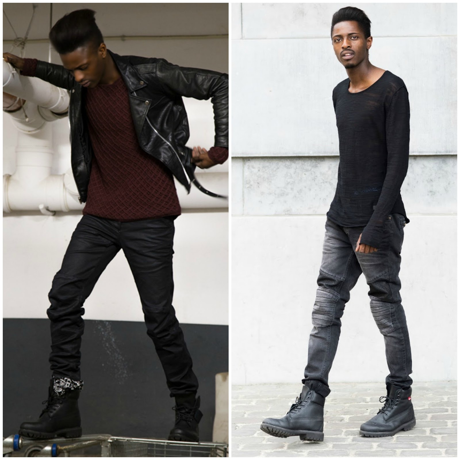 how to wear timberland boots : Edgy Black on Black Street Look with Black Timberland Boots
