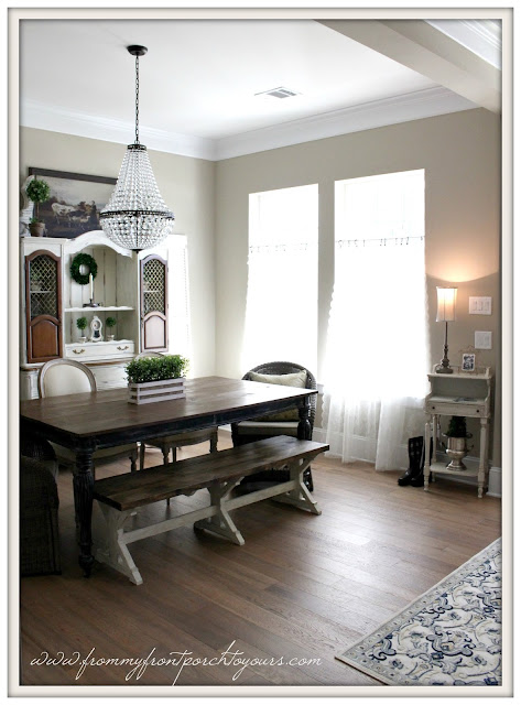 farmhouse bench-farmhouse table-mis chandleier-suburban farmhouse dining room-from my front porch to yours
