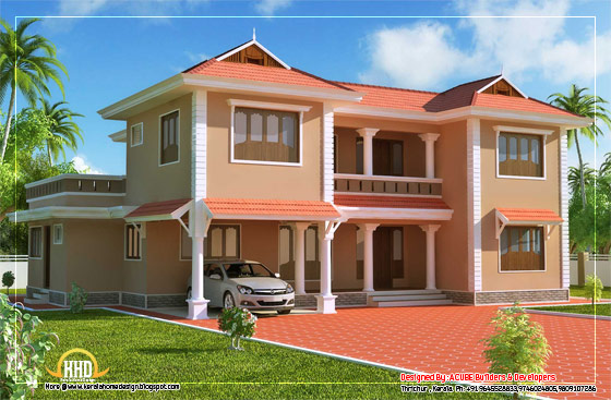 Duplex Sloping Roof House- 2618 sq. ft. (243 Square Meter) (291 Square Yards) - Published on March 2012