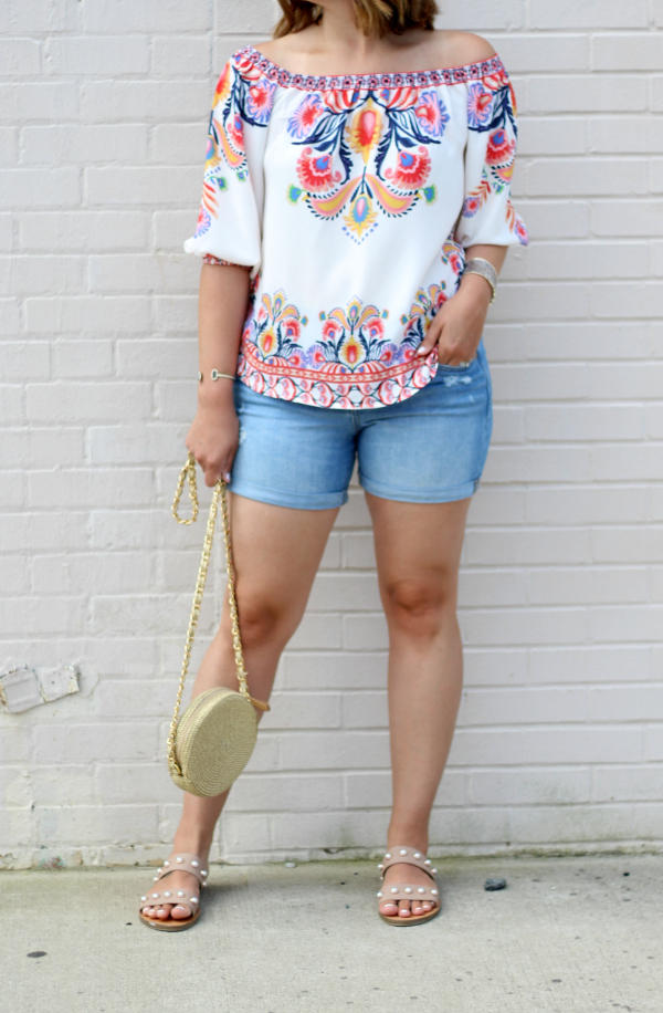 gray monroe, style on a budget, off the shoulder top, mom style, patriotic style