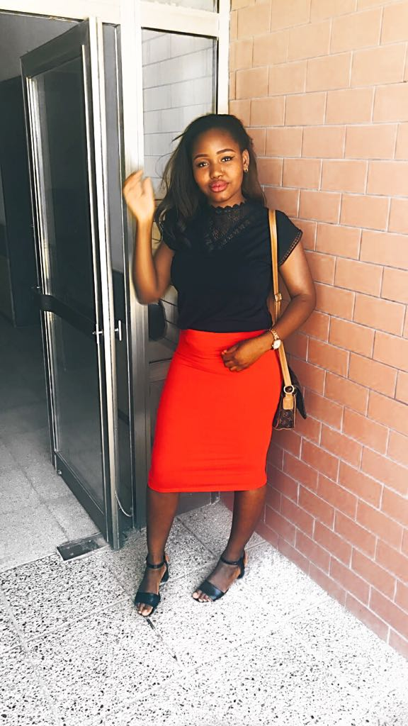 insecure girls relationships red bodycon skirt black lace top