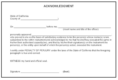 Brian Sample of Acknowledgment Notary Public Form