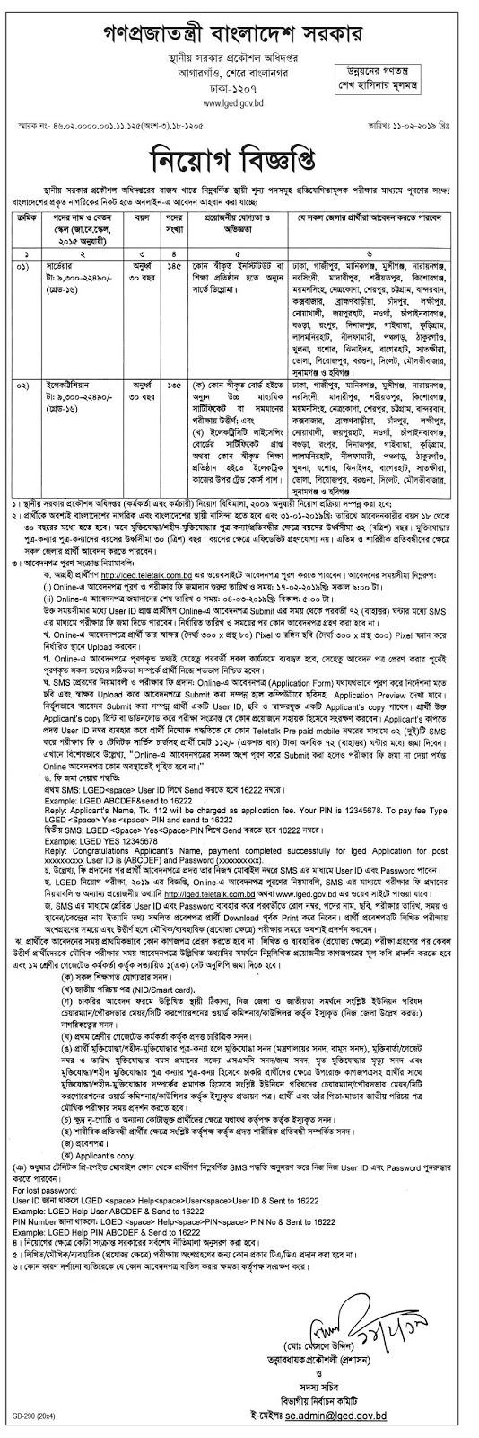 Local Government Engineering Departmen(LGED) job circular 2019 Apply online