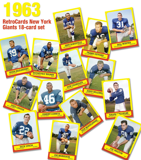 "Topps, Frank Gifford, Andy Robustelli, Hugh McElhenny, Dick Modzelewski, Roosevelt ""Rosey"" Brown,  Greg Larson, Jerry Hillebrand, Joe Morrison, Tom Scott, Dick Lynch, Joe Walton, Bookie Bolin, Don Chandler, Johnny Counts, Ralph Guglielmi, Glynn Griffing, Dick Pesonen, & Bill Winter"
