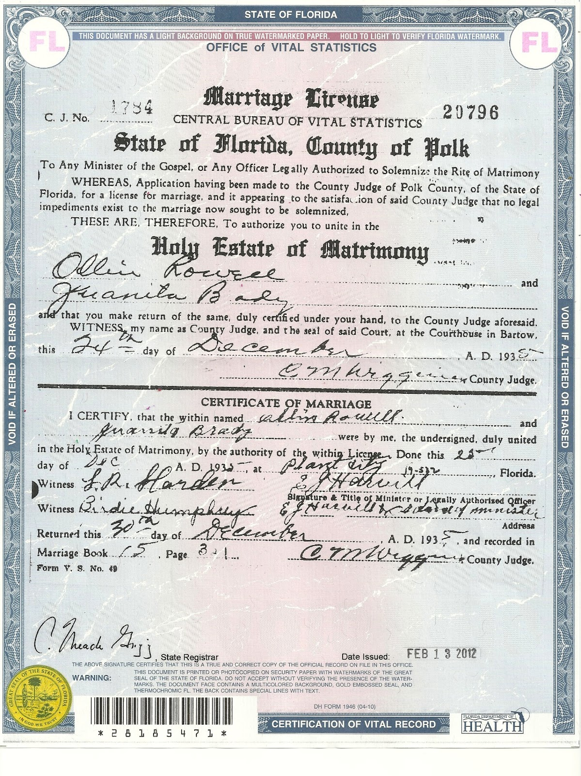 Copy of marriage certificate florida best design sertificate 2017 marriage how to get a license in south xflitez Image collections