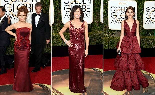 Bernadette Peters, Felicity Huffman e Zendaya optaram por vestidos no tom para o Globo de Ouro 2016 (Foto: AFP)