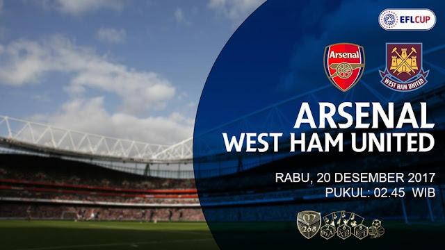 Prediksi Bola : Arsenal Vs West Ham United , Rabu 20 Desember 2017 Pukul 02.45 WIB