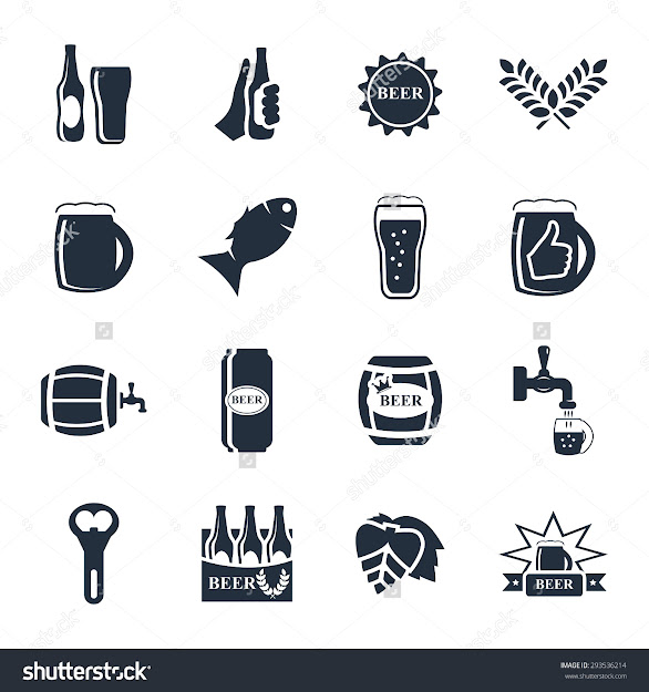 Beer Vector Icon Set  Bottle Glass Pint