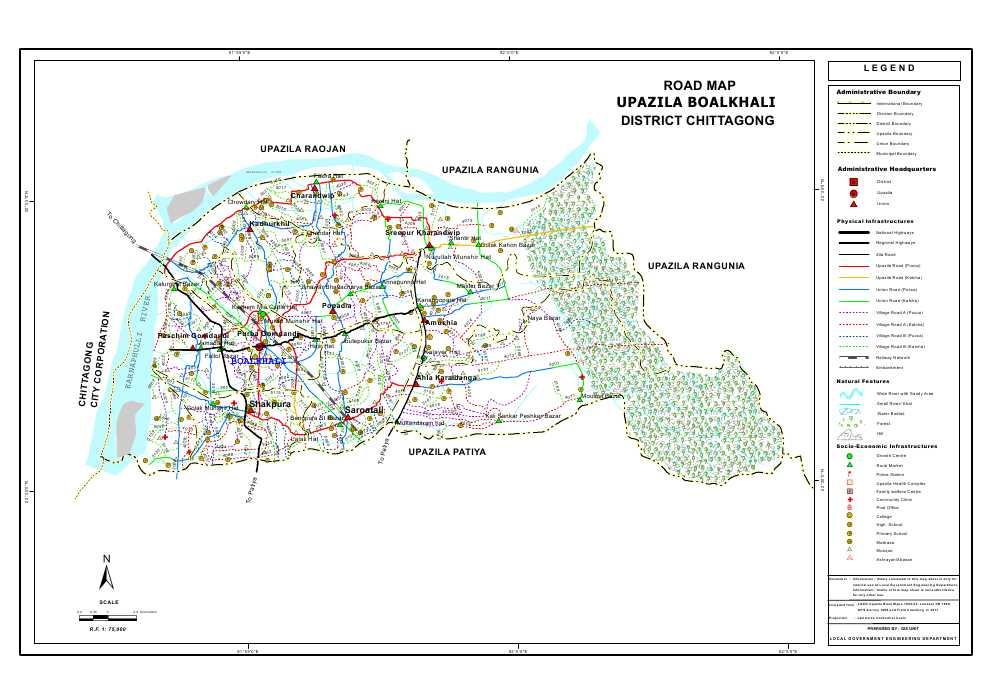 Boalkhali Upazila Road Map Chittagong District Bangladesh