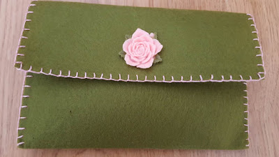 embellished felt clutch