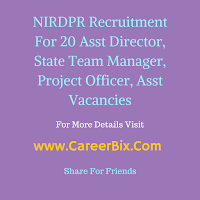 NIRDPR Recruitment For 20 Asst Director, State Team Manager, Project Officer, Asst Vacancies