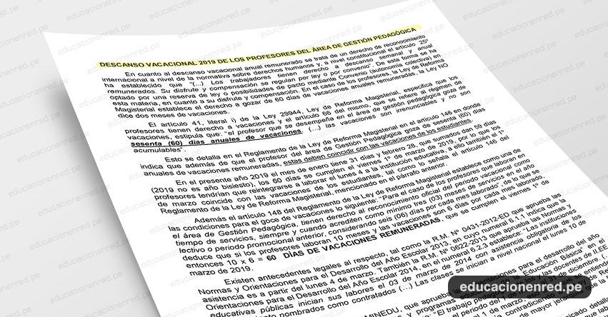 ANÁLISIS: Descanso Vacacional 2019 de los Profesores del Área de Gestión Pedagógica (Fernando Gamarra Morales)