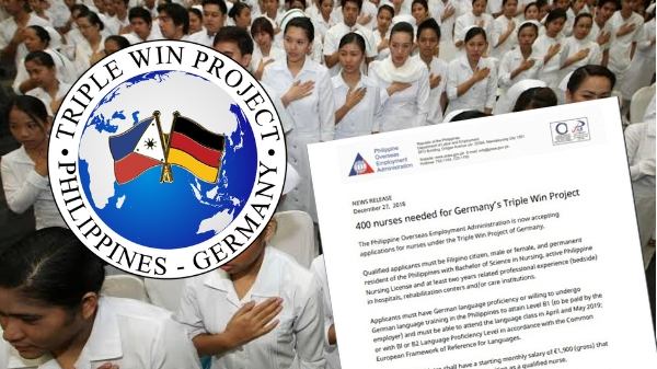 Germany hiring 400 Filipino nurses, monthly salary at P143,000 per month