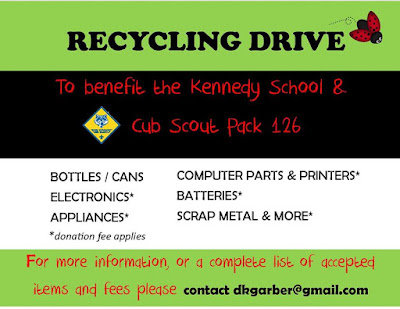 Kennedy School Recycling Drive - June 4, 10:00 AM to 1:00 PM