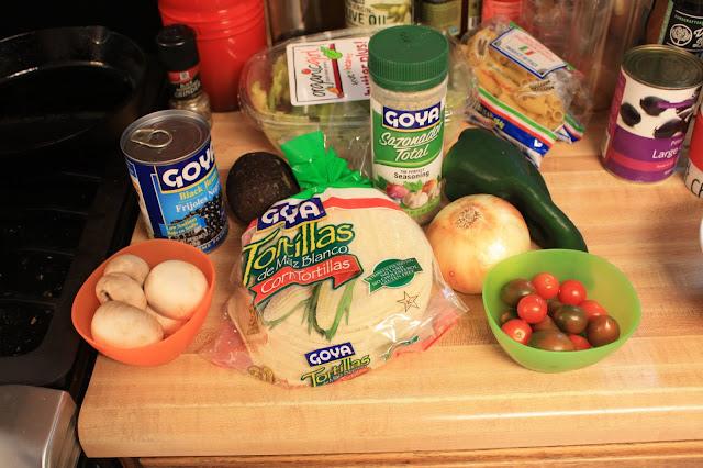 Goya Tortillas, Goya Seasoning and Goya Black Beans from my Degustabox along with some fresh veggies helped make a great meal.