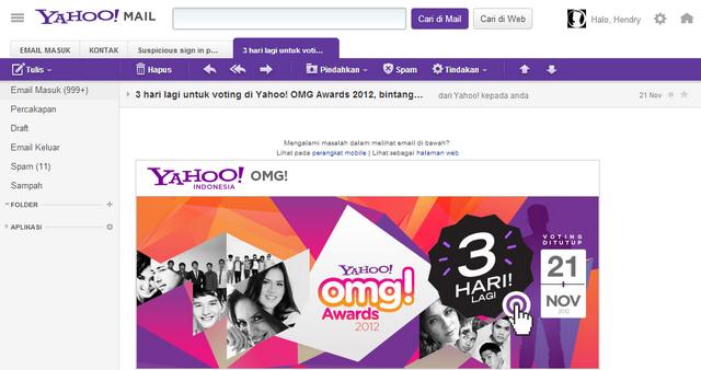 Tampilan New Yahoo! Mail di web