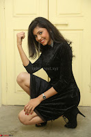 Mounika in a velvet short black dress for Tick Tack Movie Press Meet March 2017 060.JPG