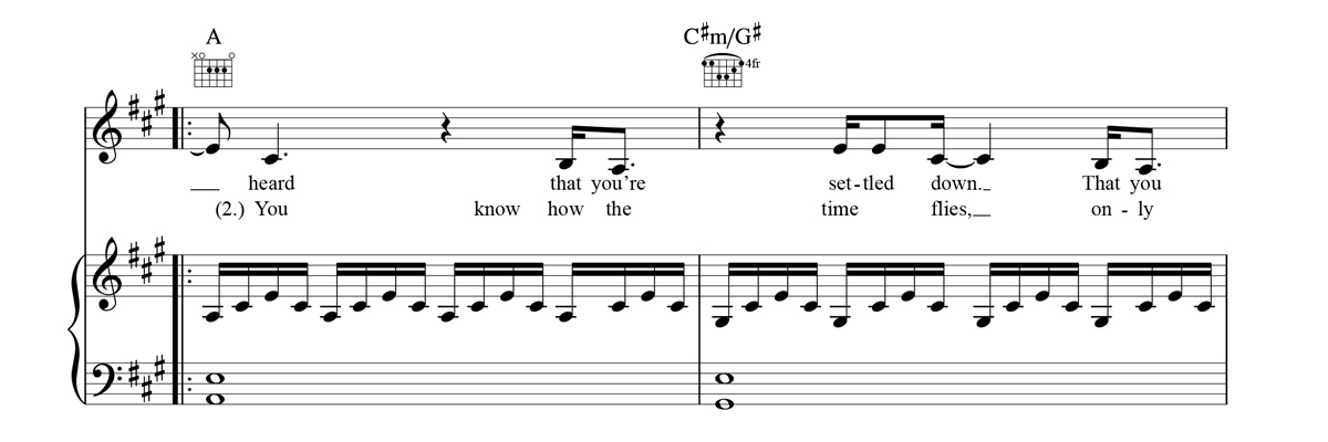 Piano, Vocal & Guitar Sheet Music Notation Sample