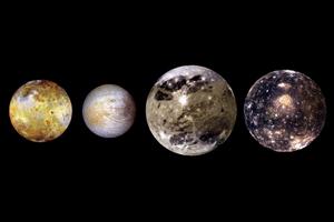 Los denominados satélites galileanos: Ganímedes, Calisto, Io y Europa