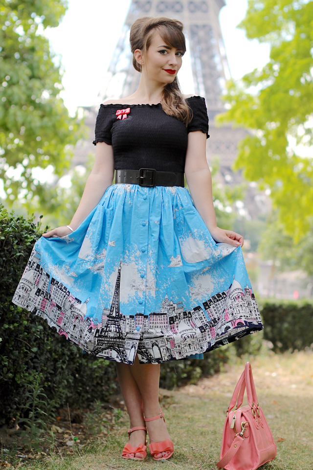 Lindybop Adalene Paris border print skirt