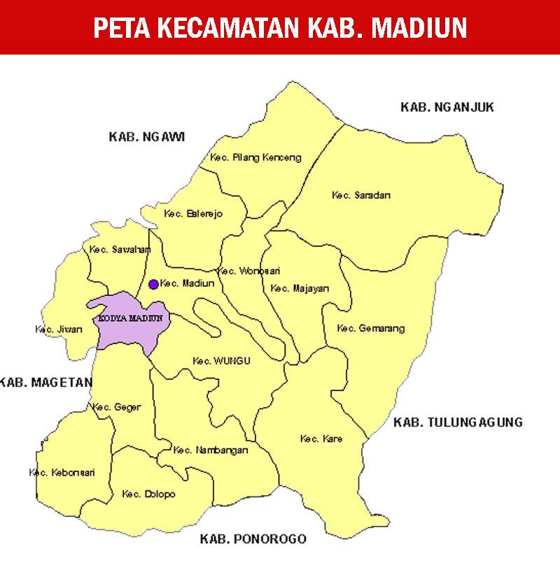 Peta Kabupaten Madiun Lengkap 18 Kecamatan | Sejarah and ...