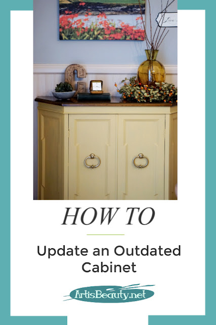 How to Update an Outdated Cabinet using General Finishes Milk Paint Somerset Gold