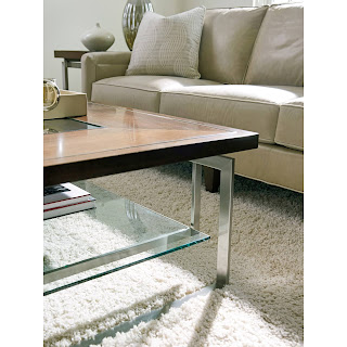 mid-century modern coffee table and transitional sofa