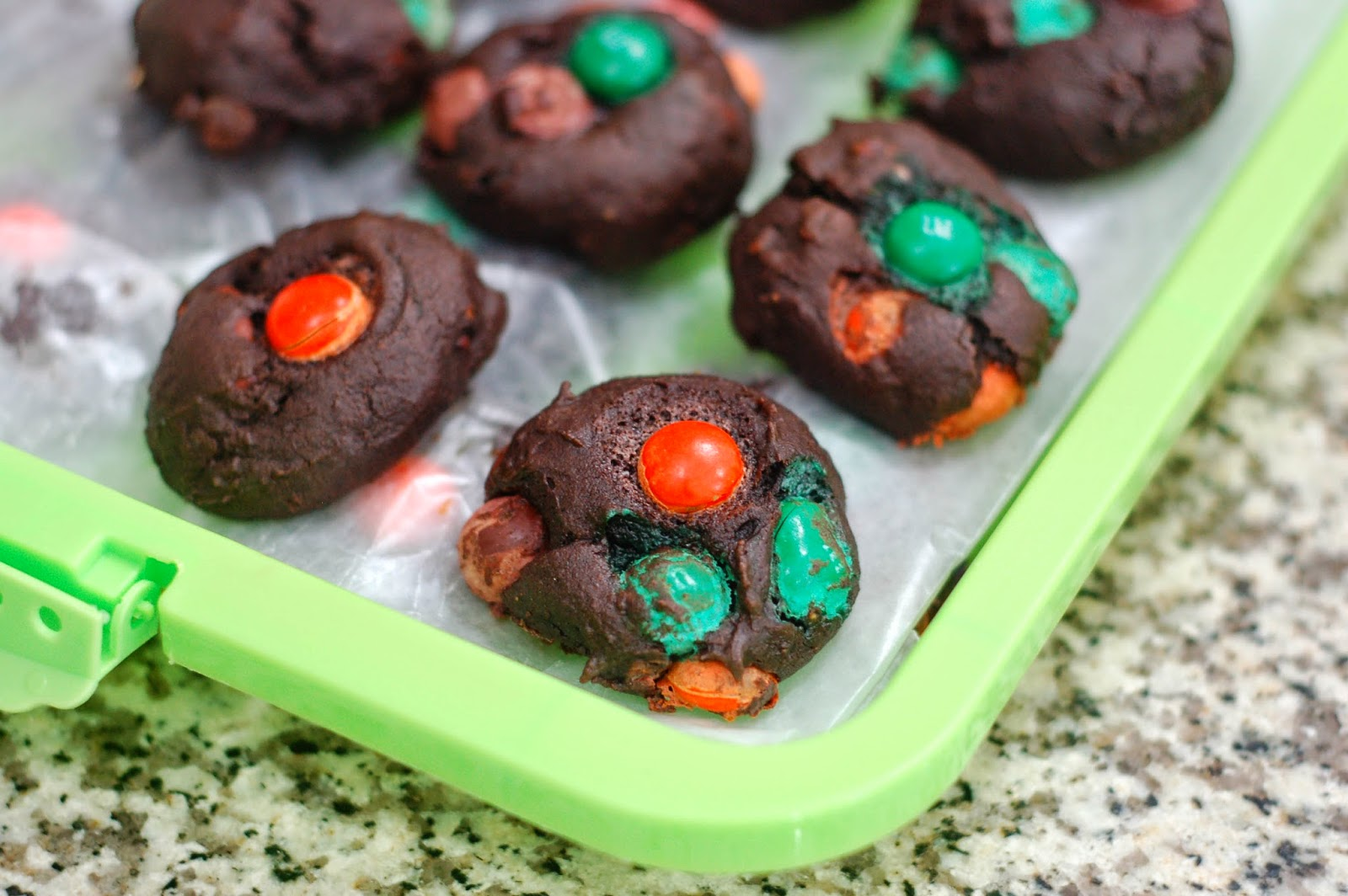 Pumpkin Spice M&M Cookies by The Sweet Chick