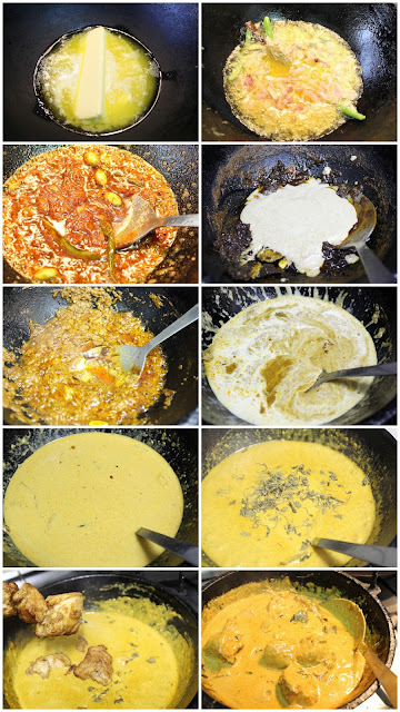 Step by step pictorial guide for gravy butter chicken