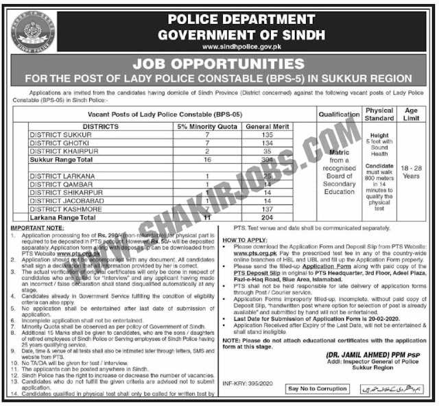 Sindh Police jobs February 2020
