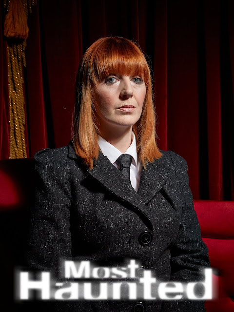 Red haired TV presenter with the text 'Most Haunted'