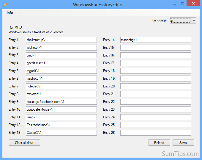 Windows Run History Editor