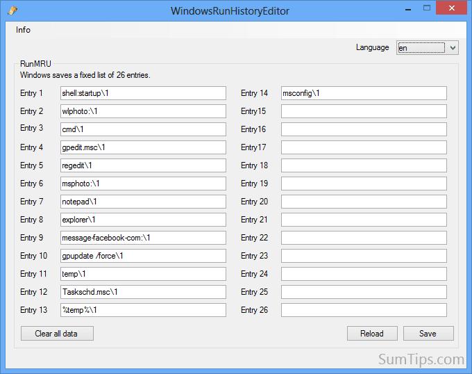 Windows Run History Editor