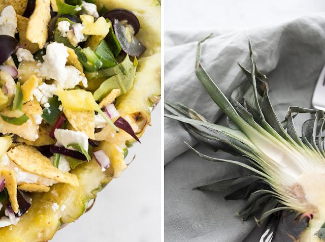 ananas, tarjoilukulho, salaatti