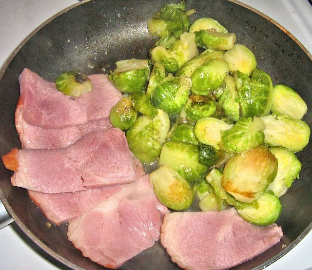 Ham slices with pan-fried brussels sprouts