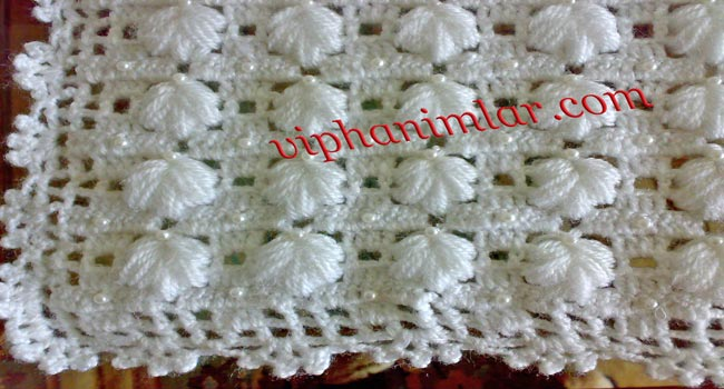 Boncuklu Beyaz Bebek Battaniyesi