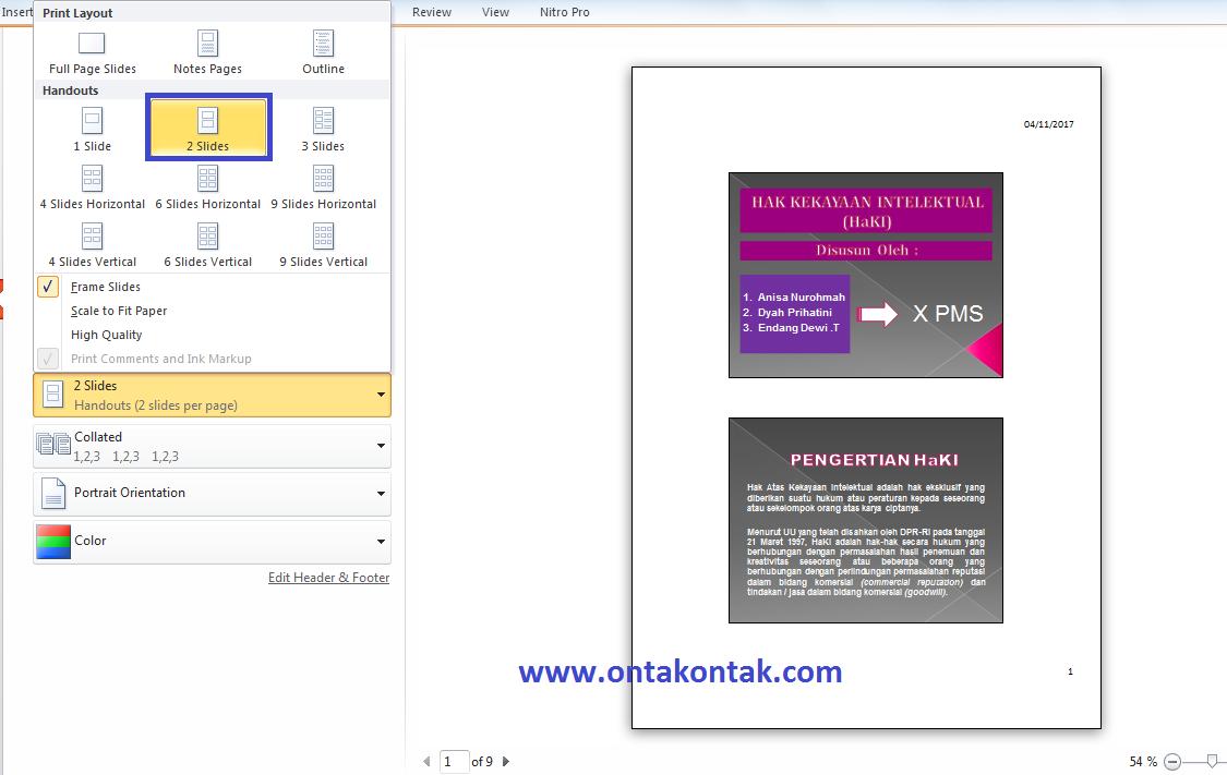 Cara Print Powerpoint Satu Lembar Menjadi 2 3 4 6 Slide Bang Ontak