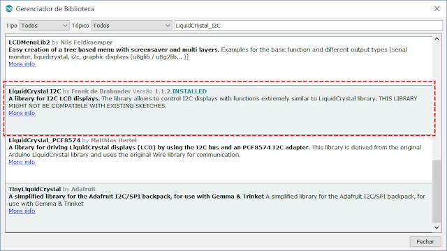 Instalação biblioteca LiquidCrystal_I2C IDE Arduino