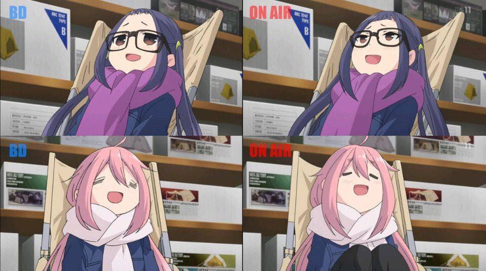 Comparando Yuru Camp TV vs Blu-ray