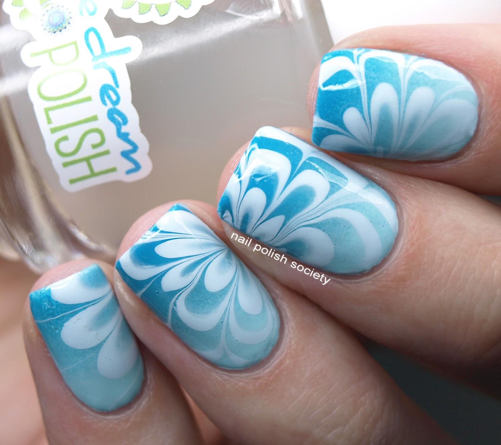 Aqua Nail Art: Nail Polish Society: 40 Great Nail Art Ideas: Aqua Or