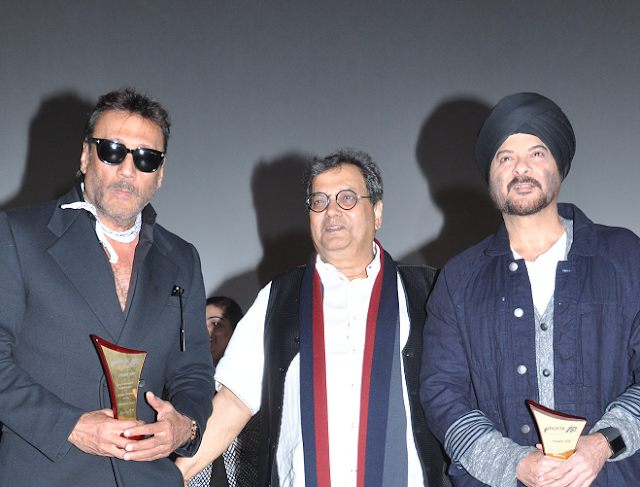 Subhash Ghai with reel-life Ram-Lakhan, Jackie Shroff and Anil Kapoor at the launch of Mukta A2 New Excelsior Cinema