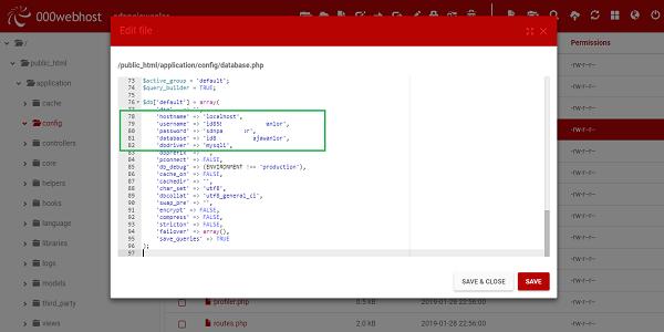 configurasi database di 000Webhost