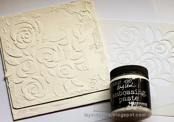 Layers of ink - Roses Mixed Media Panel Tutorial by Anna-Karin Evaldsson. Add paste through stencil.