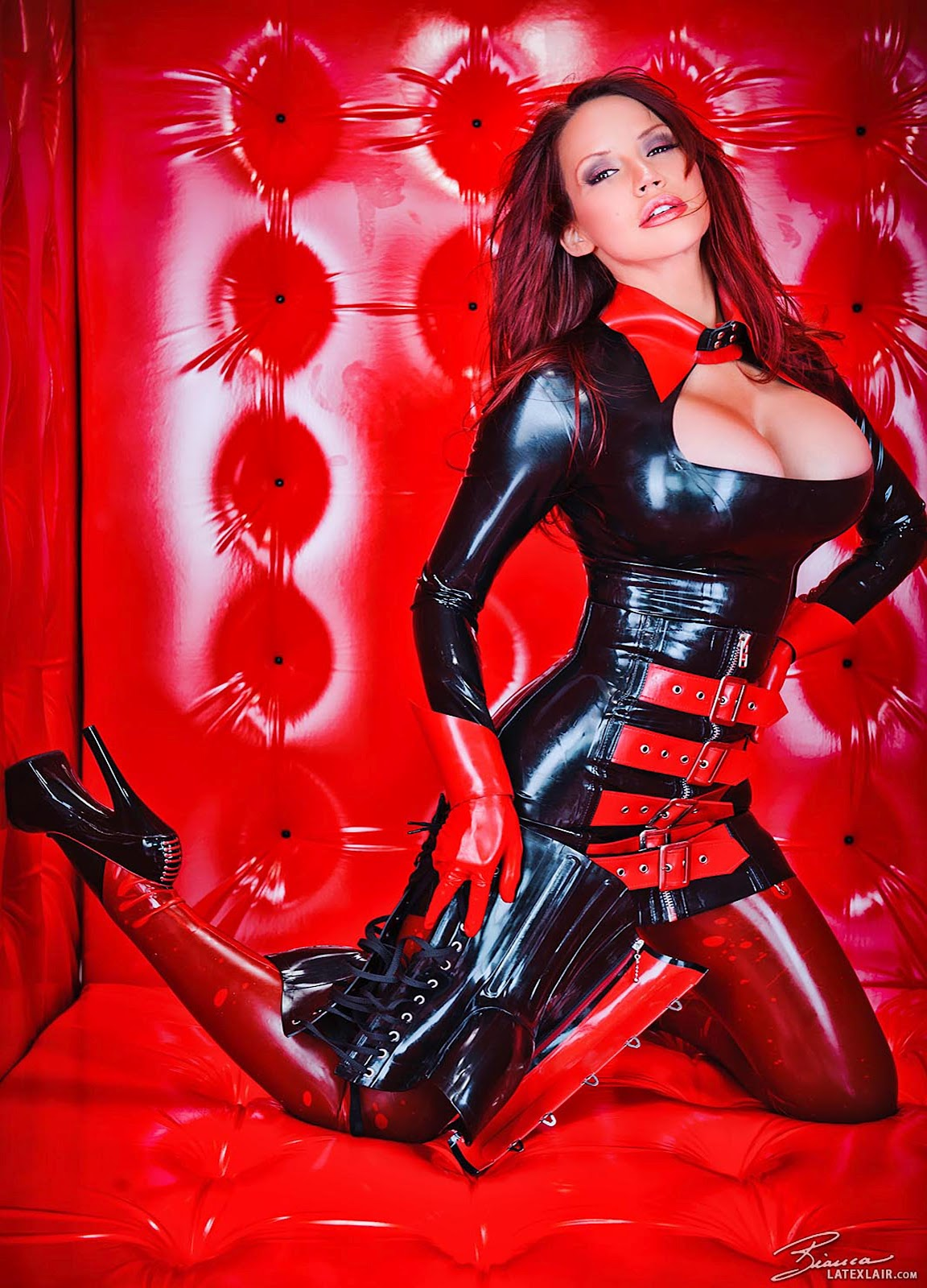 Sexy women with big tits in latex
